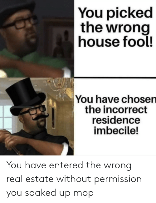 Reddit, House, and Real Estate: You picked  the wrong  house fool!  You have chosen  the incorrect  residence  imbecile! You have entered the wrong real estate without permission you soaked up mop