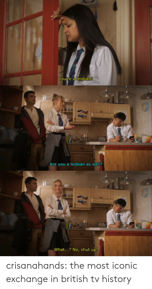 Shut Up, Target, and Tumblr: You re a lesbian   Are vou a lesbian as well?   What...? No, shut up! crisanahands:  the most iconic exchange in british tv history