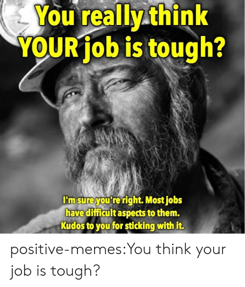 Memes, Target, and Tumblr: You really think  YOUR job is tough?  I'm sureyou re right. Most jobs  have difficult aspects to them.  Kudos to you for sticking with it. positive-memes:You think your job is tough?