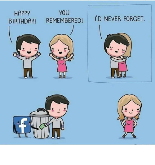 Happy Birthday: YOU  REMEMBERED!  HAPPY  BIRTHDAY!  ID NEVER FORGET. Facebook is clutch