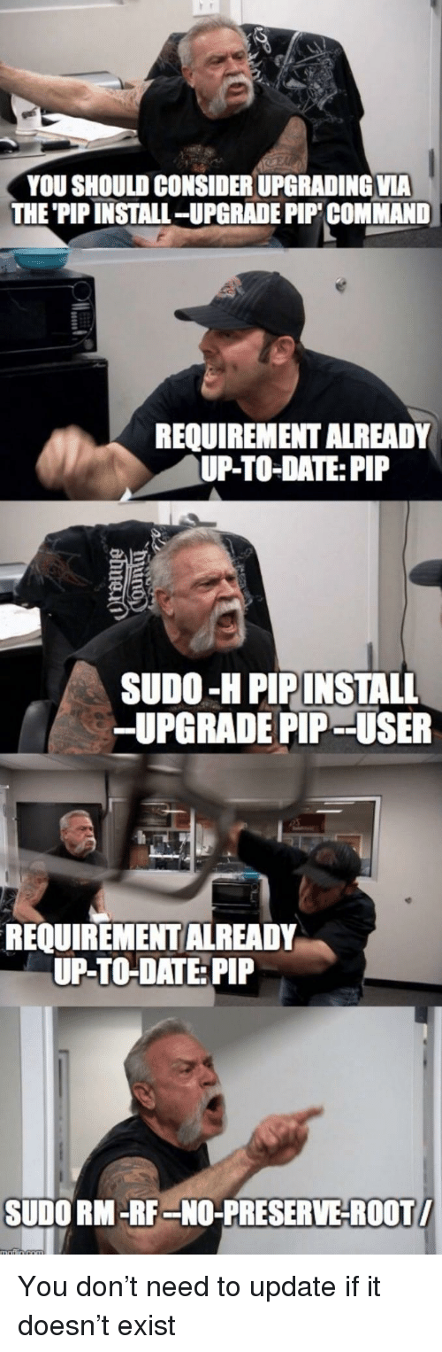up to date: YOU SHOULD CONSIDER UPGRADING VIA  THE 'PIP INSTALL-UPGRADE PIP COMMAND  REQUIREMENT ALREADY  UP-TO-DATE: PIP  SUDO-H PIPINSTALL  -UPGRADE PIP - -USER  REQUIREMENT ALREADY  UP-TO-DATE: PIP  SUDO RM-RF-NO-PRESERVE-ROOT You don't need to update if it doesn't exist