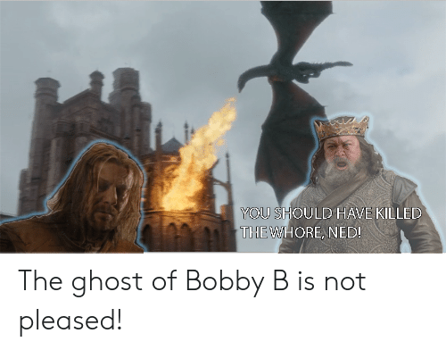 Ghost, You, and Pleased: YOU SHOULD  THE WHORE, NED!  HAVE KILLED The ghost of Bobby B is not pleased!