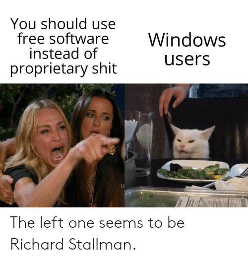 Shit, Windows, and Free: You should use  free software  instead of  proprietary shit  Windows  users The left one seems to be Richard Stallman.