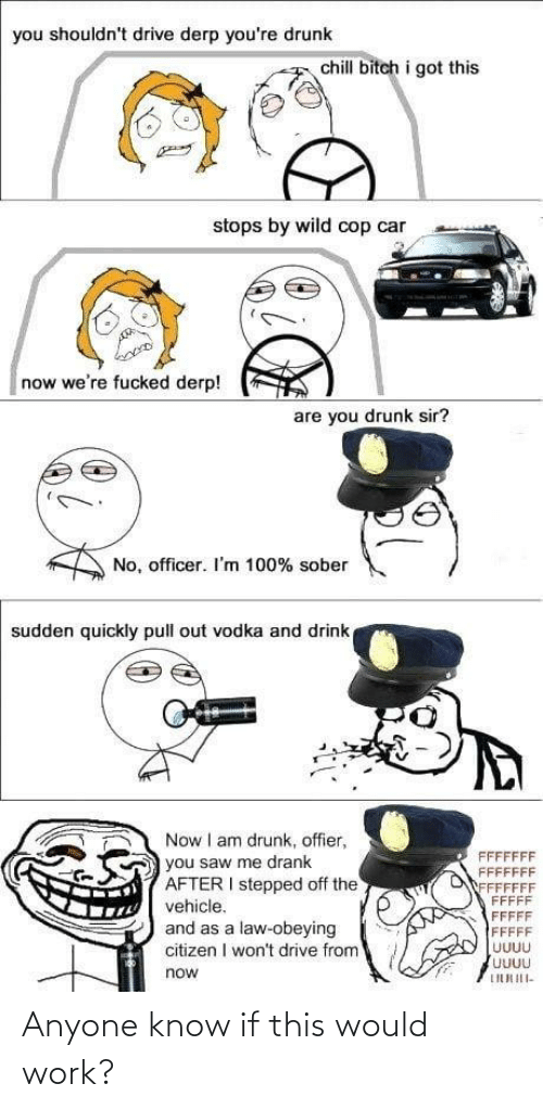 Bitch, Chill, and Drunk: you shouldn't drive derp you're drunk  chill bitch i got this  stops by wild cop car  now we're fucked derp!  are you drunk sir?  No, officer. I'm 100% sober  sudden quickly pull out vodka and drink  Now I am drunk, offier,  FFFFFFF  FFFFFFF  FFFFFFF  FFFFF  FFFFF  you saw me drank  AFTER I stepped off the  vehicle.  and as a law-obeying  citizen I won't drive from  FFFFF  UUUU  UUUU  now  LIURIII- Anyone know if this would work?