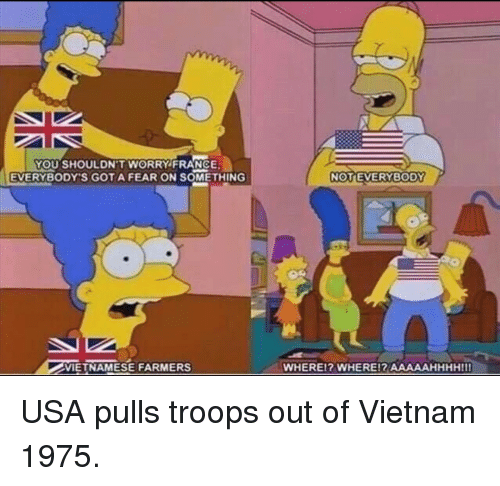France, Vietnam, and Vietnamese: YOU SHOULDN'T WORRY FRANCE  EVERYBODY'S GOTA FEAR ON SOMETHING  NOTEVERYBODY  VIETNAMESE FARMERS  WHEREI? WHERE!R AAAAAHHHHIII USA pulls troops out of Vietnam 1975.