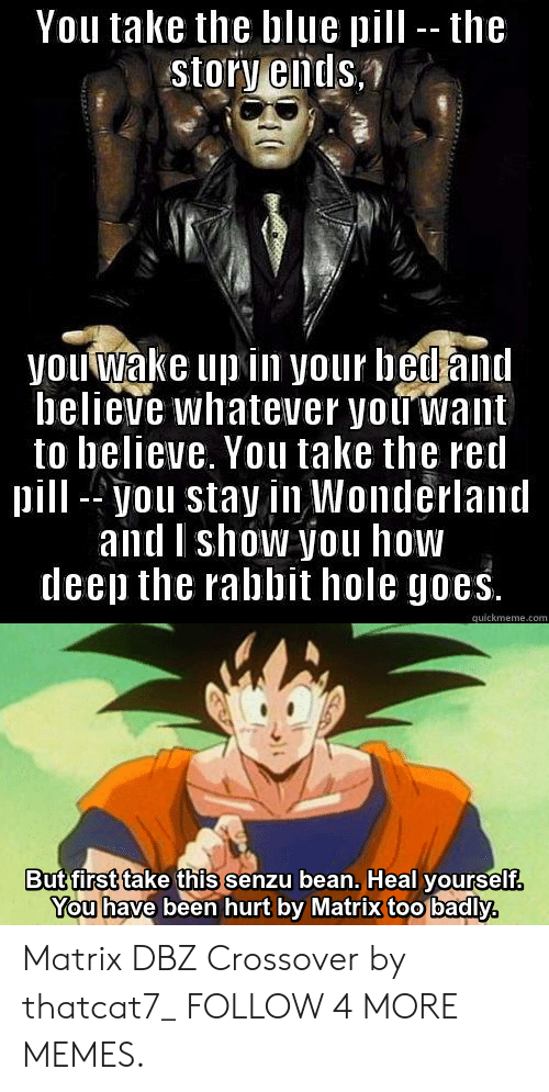 dbz: You take the blue pill -- the  story ends.  you wake up in your bed and  believe whatever you want  to believe. You take the red  pill-you stay in Wonderland  and Ishow you how  deep the rabbit hole goes.  quickmeme.com  But first take this senzu bean. Heal yourself.  You have been hurt by Matrix too badly,  T Matrix DBZ Crossover by thatcat7_ FOLLOW 4 MORE MEMES.