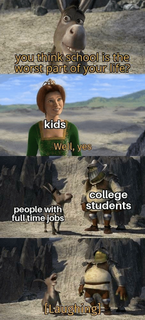 Full Time: you think school is the  worst part of your life?  kids  Well, yes  college  students  people with  full time jobs  ELaughingl