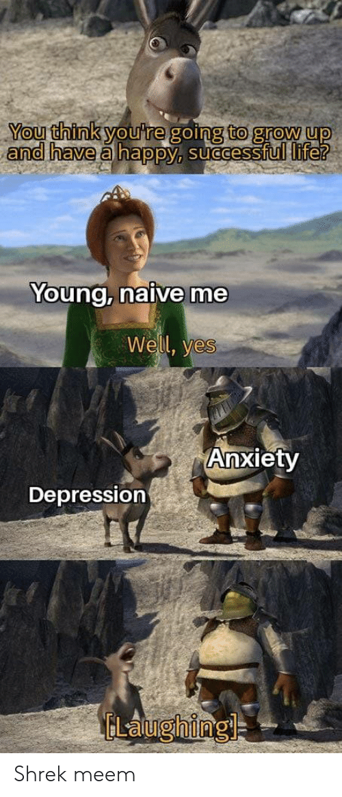 Shrek: You think you're going to grow up  and have a happy, successful life?  Young, naive me  Well, yes  Anxiety  Depression  ELaughing Shrek meem