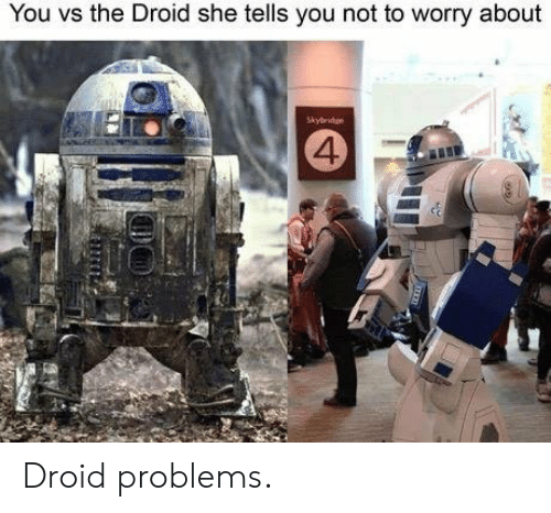 droid: You vs the Droid she tells you not to worry about  Skybridge  4 Droid problems.