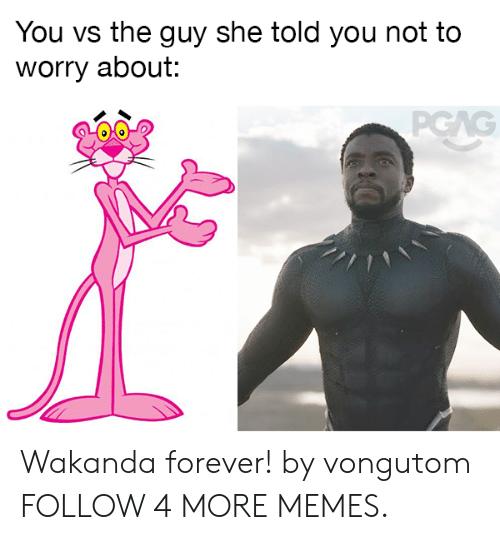 You Vs: You vs the guy she told you not to  worry about:  PGAG Wakanda forever! by vongutom FOLLOW 4 MORE MEMES.