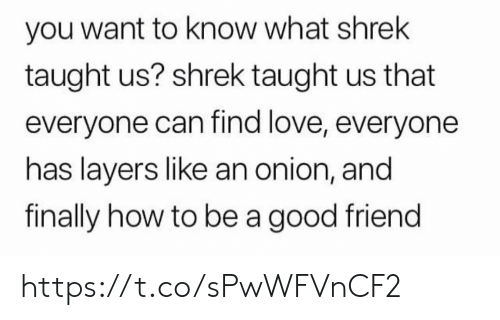 A Good Friend: you want to know what shrek  taught us? shrek taught us that  everyone can find love, everyone  has layers like an onion, and  finally how to be a good friend https://t.co/sPwWFVnCF2