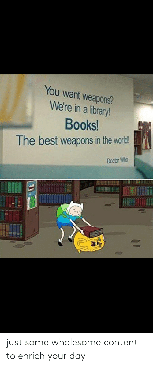Books, Doctor, and Best: You want weapons?  We're in a library!  Books!  The best weapons in the world  Doctor Who just some wholesome content to enrich your day