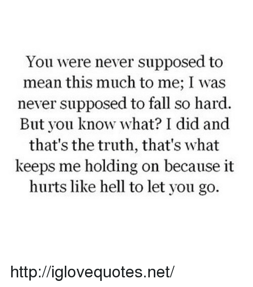 Fall, Http, and Mean: You were never supposed to  mean this much to me; I was  never supposed to fall so hard  But you know what? I did and  that's the truth, that's what  keeps me holding on because it  hurts like hell to let you go. http://iglovequotes.net/