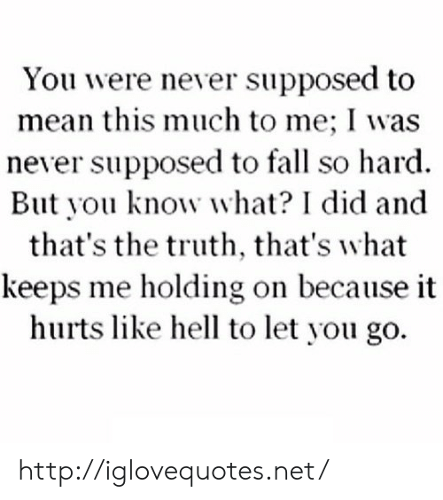 holding-on: You were never supposed to  mean this much to me; I was  never supposed to fall so hard.  But you know what? I did and  that's the truth, that's what  keeps me holding on because it  hurts like hell to let you go. http://iglovequotes.net/