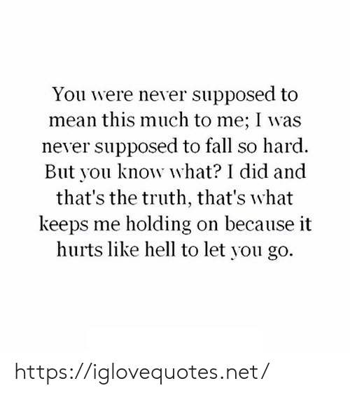 holding-on: You were never supposed to  mean this much to me; I was  never supposed to fall so hard.  But you know what? I did and  that's the truth, that's what  keeps me holding on because it  hurts like hell to let you go. https://iglovequotes.net/