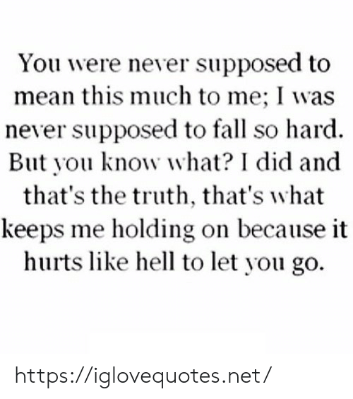 Holding: You were never supposed to  mean this much to me; I was  never supposed to fall so hard  But you know what? I did and  that's the truth, that's what  keeps me holding on because it  hurts like hell to let you go https://iglovequotes.net/