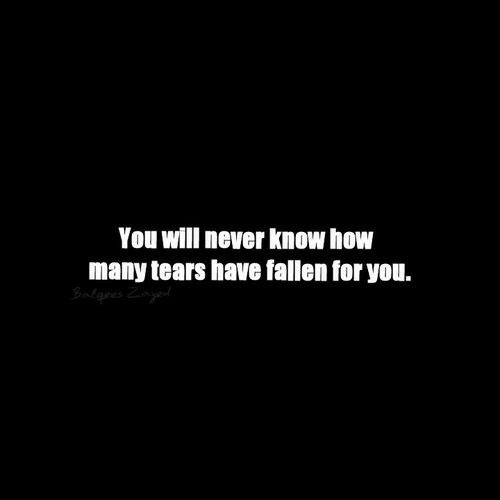 will never know: You will never know how  many tears have fallen for you.
