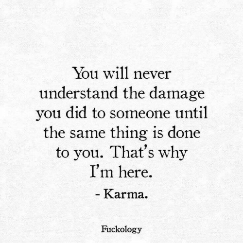 im here: You will never  understand the damage  you did to someone until  the same thing is done  to you. That's why  I'm here  - Karma.  Fuckology