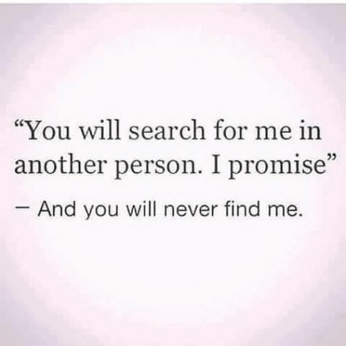 "Search, Never, and Another: ""You will search for me in  another person. I promise""  And you will never find me.  05"