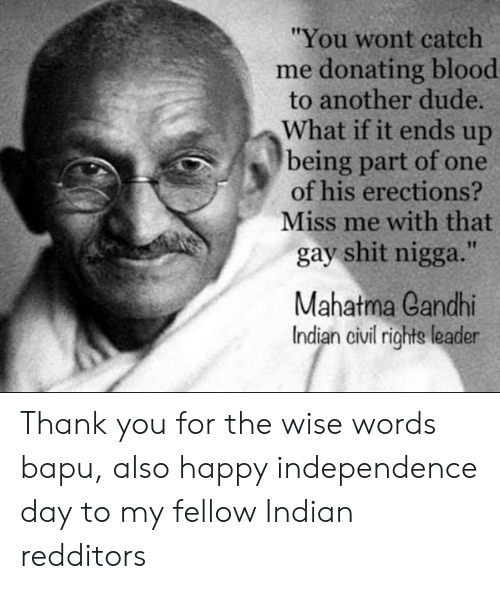 "Dude, Independence Day, and Mahatma Gandhi: ""You wont catch  me donating blood  to another dude.  What if it ends up  being part of one  of his erections?  Miss me with that  gay shit nigga.""  Mahatma Gandhi  Indian civil rights leader Thank you for the wise words bapu, also happy independence day to my fellow Indian redditors"