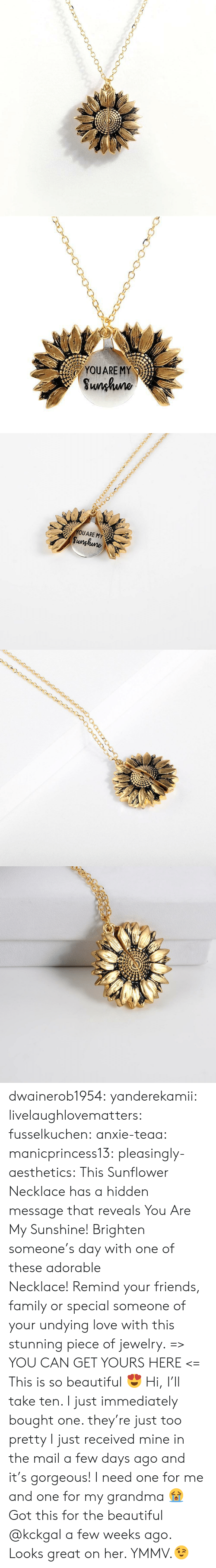 Beautiful, Family, and Friends: YOUARE MY  Sunhuno   YOUARE MY  Sunghune dwainerob1954:  yanderekamii:  livelaughlovematters:  fusselkuchen: anxie-teaa:   manicprincess13:   pleasingly-aesthetics:  This Sunflower Necklace has a hidden message that reveals You Are My Sunshine! Brighten someone's day with one of these adorable Necklace! Remind your friends, family or special someone of your undying love with this stunning piece of jewelry. => YOU CAN GET YOURS HERE <=   This is so beautiful 😍    Hi, I'll take ten.    I just immediately bought one. they're just too pretty   I just received mine in the mail a few days ago and it's gorgeous!  I need one for me and one for my grandma 😭  Got this for the beautiful @kckgal a few weeks ago.  Looks great on her. YMMV.😉