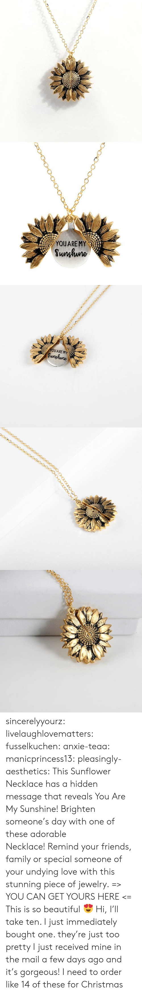 hidden: YOUARE MY  Sunhuno   YOUARE MY  Sunghune sincerelyyourz: livelaughlovematters:  fusselkuchen:  anxie-teaa:   manicprincess13:   pleasingly-aesthetics:  This Sunflower Necklace has a hidden message that reveals You Are My Sunshine! Brighten someone's day with one of these adorable Necklace! Remind your friends, family or special someone of your undying love with this stunning piece of jewelry. => YOU CAN GET YOURS HERE <=   This is so beautiful 😍    Hi, I'll take ten.    I just immediately bought one. they're just too pretty   I just received mine in the mail a few days ago and it's gorgeous!   I need to order like 14 of these for Christmas