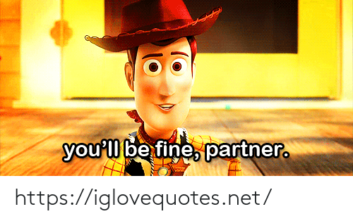 Partner: you'l be fine, partner. https://iglovequotes.net/