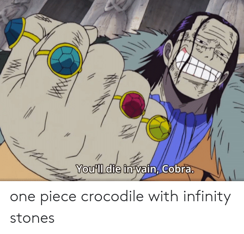 die-in-vain: You'll die in vain, Cobra.  ww one piece crocodile with infinity stones