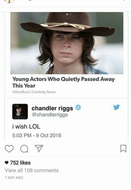 Dank, Quiet, and 🤖: Young Actors Who Quietly Passed Away  This Year  Other BuzzlCelebrity News  chandler riggs  Chandlerriggs  i wish LOL  5:03 PM 9 Oct 2016  752 likes  View all 108 comments  1 DAY AGO