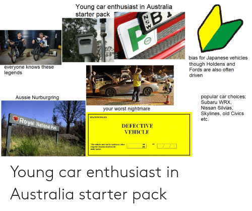 Fords: Young car enthusiast in Australia  starter pack  100  bias for Japanese vehicles  though Holdens and  Fords are also often  everyone knows these  legends  driven  popular car choices:  Subaru WRX,  Nissan Silvias,  Skylines, old Civics  etc  Aussie Nurburgring  your worst nightmare  RTANSW POLICE  Royal National Park  DEFECTIVE  VEHICLE  This vehicle must net be used on or after  exPpt for reasene listed on the  ZSW Young car enthusiast in Australia starter pack