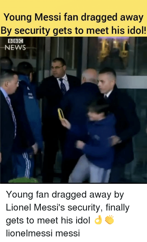 fanning: Young Messi fan dragged away  By security gets to meet his idol!  NEWS Young fan dragged away by Lionel Messi's security, finally gets to meet his idol 👌👏 lionelmessi messi