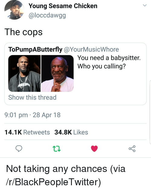 Blackpeopletwitter, Chicken, and Who: Young Sesame Chicken  @loccdawgg  The copsS  ToPumpAButterfly @YourMusicWhore  You need a babysitter.  Who you calling?  Show this thread  9:01 pm 28 Apr 18  14.1K Retweets 34.8K Likes <p>Not taking any chances (via /r/BlackPeopleTwitter)</p>