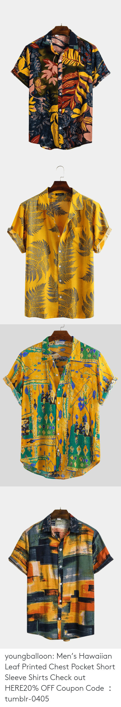 short: youngballoon:  Men's Hawaiian Leaf Printed Chest Pocket Short Sleeve Shirts Check out HERE20% OFF Coupon Code : tumblr-0405