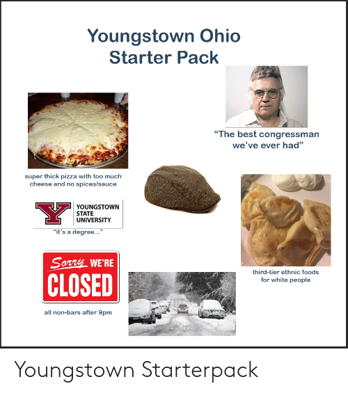"""Pizza, Sorry, and Starter Packs: Youngstown Ohio  Starter Pack  """"The best congressman  we've ever had""""  super thick pizza with too much  cheese and no spices/sauce  YOUNGSTOWN  STATE  UNIVERSITY  """"it's a degree...""""  Sorry WE'RE  third-tier ethnic foods  CLOSED  for white people  all non-bars after 9pm Youngstown Starterpack"""