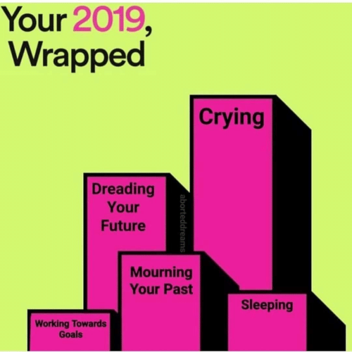 goals: Your 2019,  Wrapped  Crying  Dreading  Your  Future  Mourning  Your Past  Sleeping  Working Towards  Goals  aborteddreams