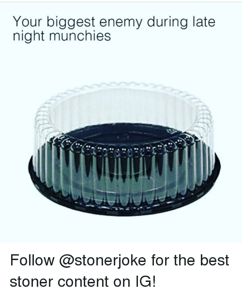 munchies: Your biggest enemy during late  night munchies Follow @stonerjoke for the best stoner content on IG!