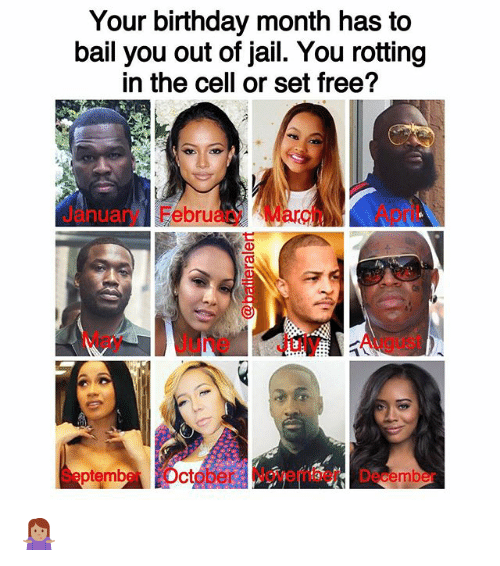Birthday, Jail, and Memes: Your birthday month has to  bail you out of jail. You rotting  in the cell or set free?  Jry FebruaryMarApril  anua  May June July August  SeptmberOctober November December 🤷🏽♀️