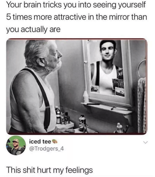 Shit, Brain, and Mirror: Your brain tricks you into seeing yourself  5 times more attractive in the mirror than  you actually are  iced tee  @Trodgers 4  This shit hurt my feelings