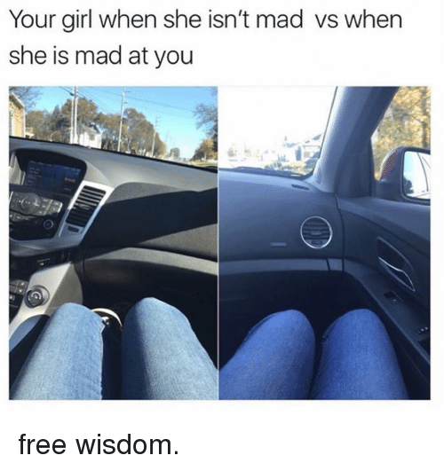 Memes, Free, and Girl: Your girl when she isn't mad vs when  she is mad at you free wisdom.