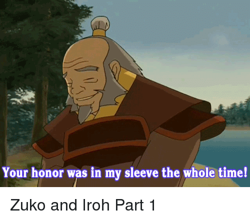 Time, Zuko, and Sleeve: Your honor was in my sleeve the whole time! Zuko and Iroh Part 1