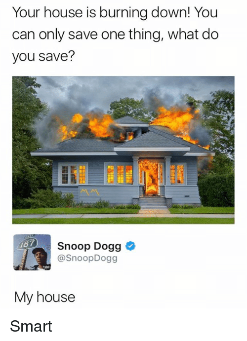 Snoop Dogge: Your house is burning down! You  can only save one thing, what do  you save?  Snoop Dogg *  @SnoopDogg  87  My house Smart