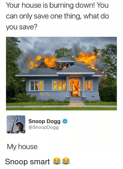 Snoop Dogge: Your house is burning down! You  can only save one thing, what do  you save?  187  Snoop Dogg  @SnoopDogg  My house Snoop smart 😂😂