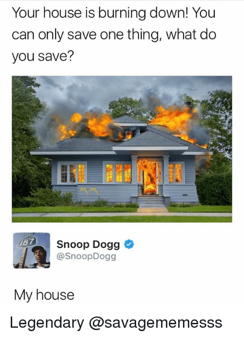 Snoop Dogge: Your house is burning down! You  can only save one thing, what do  you save?  Snoop Dogg  @SnoopDogg  87  My house Legendary @savagememesss