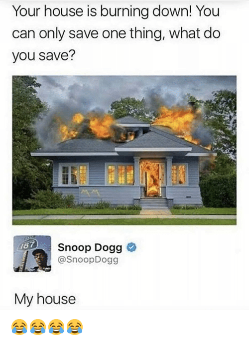 Memes, My House, and Snoop: Your house is burning down! You  can only save one thing, what do  you save?  Snoop Dogg  @SnoopDogg  My house 😂😂😂😂