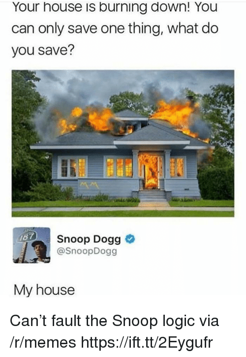 snoop dogg: Your house is burning down! You  can only save one thing, what do  you save?  Snoop Dogg >  @SnoopDogg  My house Can't fault the Snoop logic via /r/memes https://ift.tt/2Eygufr