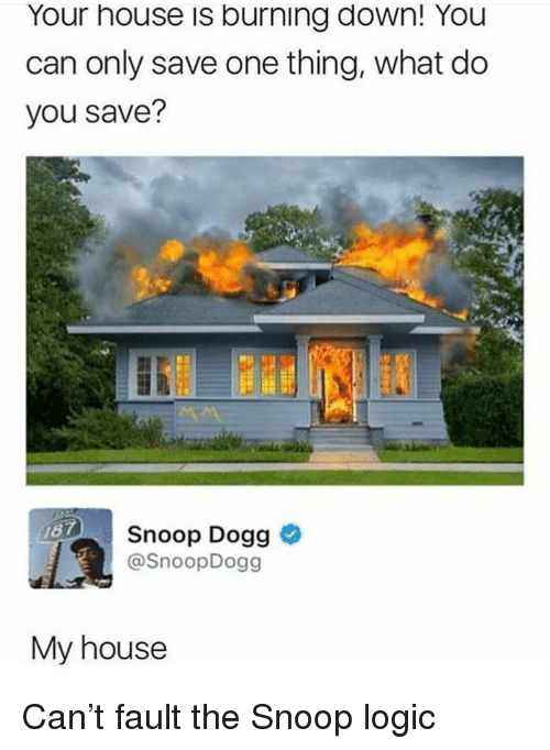 snoop dogg: Your house is burning down! You  can only save one thing, what do  you save?  Snoop Dogg >  @SnoopDogg  My house Can't fault the Snoop logic