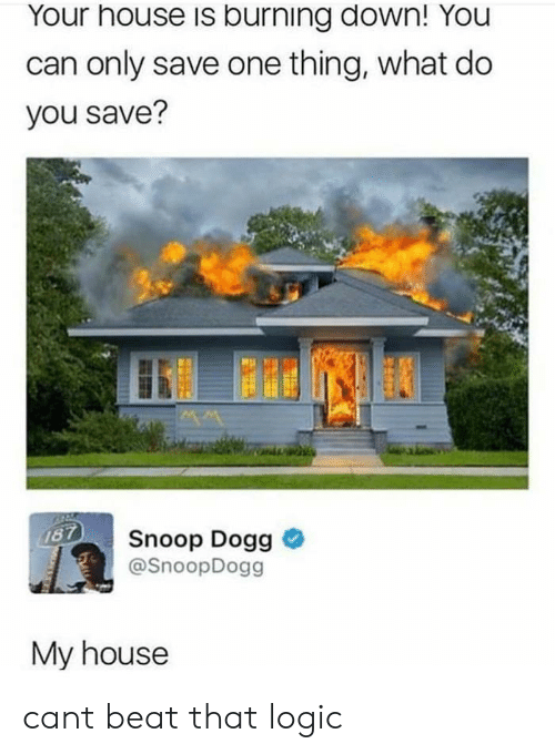snoop dogg: Your house is burning down! You  can only save one thing, what do  you save?  Snoop Dogg >  @SnoopDogg  My house cant beat that logic