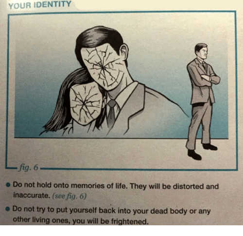 distorted: YOUR IDENTITY  fig. 6  inaccurate. (see fig. 6)  other living ones, you will be frightened.  - Do not hold onto memories of life. They will be distorted and  e Do not try to put yourself back into your dead body or any