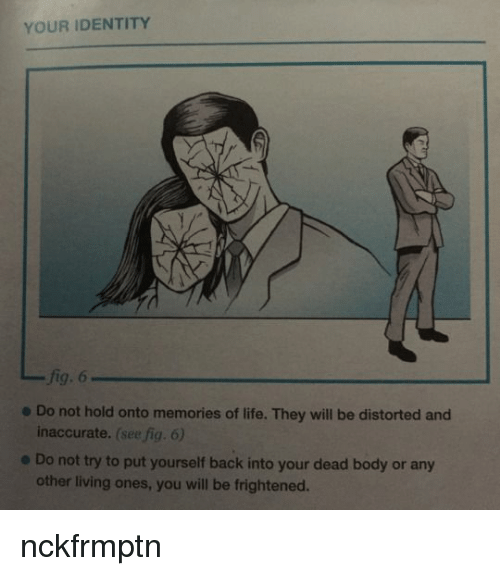 distorted: YOUR IDENTITY  fig. 6  inaccurate. (see fig. 6)  other living ones, you will be frightened.  e Do not hold onto memories of life. They will be distorted and  e Do not try to put yourself back into your dead body or any nckfrmptn