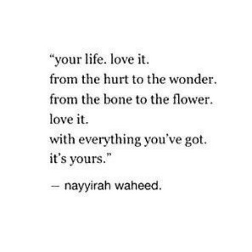 "Life, Love, and Flower: ""your life. love i  from the hurt to the wonder.  from the bone to the flower  love it.  with everything you've got  it's yours.""  - nayyirah waheed"